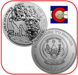 2018 Rwanda African Giraffe 1 oz Silver Coin in original mint sealed pack