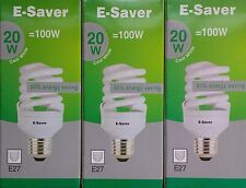 3x E-Saver, Energy Saving CFL Light Bulbs, Spiral, 20w, Cool White, E27 Screw