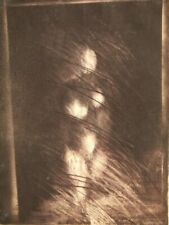 Pencil signed limited edition Studio etching; Nude Figure in the Shadows