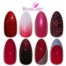Bling Art Almond False Nails Red Glitter Gel Matte Fake Medium Acrylic Tips Glue