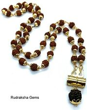 Shiva Rudraksha Trishul Damru Tabiz Necklace Prayer Meditation Rudraksh Om Beads
