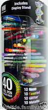 40 Gel Pens with Display Stand Neon Scented Glitter Metallic Adult Coloring Art