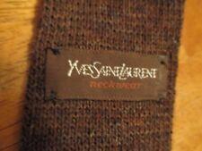 Yves Saint Laurent 100%  Wool Knit Tie dark brown square