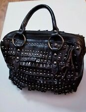 Danier Genuine Leather Hand Bag Satchel Black Studded  Fringe