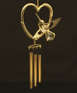 SWAROVSKI CRYSTAL ELEMENTS STUDED HUMMINGBIRD IN HEART WINDCHIME 24K GOLD PLATED