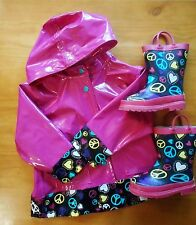 Western Chief Girls Raincoat Jacket sz 4T w/ Rain Boots sz 9 Pink Black Peace