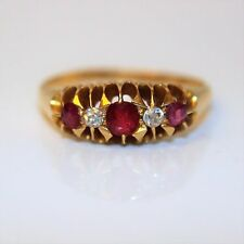 Early Victorian Glasgow 18ct Gold Ruby Old Cut Diamond Gypsy Ring size P 1/2 ~ 8