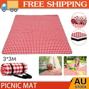 Premium 3X3m Picnic Blanket Beach Waterproof Cashmere Rug Mat Outdoor Camping AU