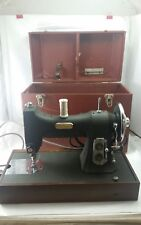 Clean WHITE ROTARY Series 77  Vintage SEWING MACHINE Green With A Case