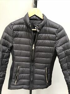 Womens Zara Quilted Puffer Puffa Down Black Jacket Size Small