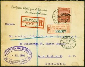 Mexico 1897 Official Reg Cover to England Fine & Attractive