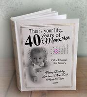 "Personalised large luxury photo album, 300 6x4"" photos, 40th birthday present"