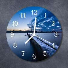 Glass Wall Clock Kitchen Clocks 30 cm round silent Landscape Blue