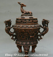 Collect China Tibet old Bronze Carve lucky deer two dragon censer incense burner
