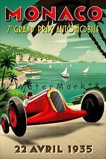 Monaco Grand Prix 1935 Car Races Vintage Poster Print Retro Style Wall Art