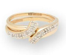 9Carat Yellow Gold 0.06TCW Diamond Interlocking Eternity Rings Set (Size M 1/2)