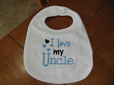 Embroidered Baby Bib - I Love my Uncle - Boy