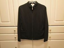 Talbots Petites Womens Sz 6 Black Zipper Wool Jacket with Front Pockets Quality