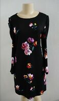 NWT OLD NAVY WOMENS BLACK MULIT FLORAL LONG SLEEVE SHIFT DRESS SIZE MEDIUM