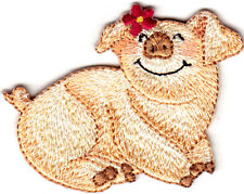 PIG WITH DAISY Iron On Patch Piglet Piggy Pigs Farm Animal