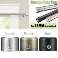 3 Color 28mm Chrome Stainless Steel Window Curtain Rod Pole Finial End Track Cap