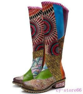 Women's Leather Knee HIgh Boots Bohemian Splicing Floral Lace Up Shoes Ruffles
