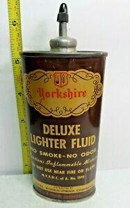 1920-50s-4oz VINTAGE YORKSHIRE DELUXE LIGHTER FLUID TIN CAN HANDY OILER LEAD TOP
