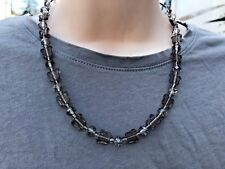 Butterfly Beads and Faceted Crystals Handmade Necklace Smoke Gray Czech Glass