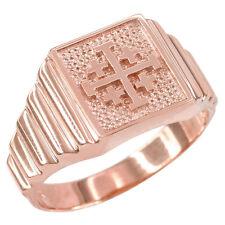 14k Rose Gold Jerusalem Cross Men's Ring