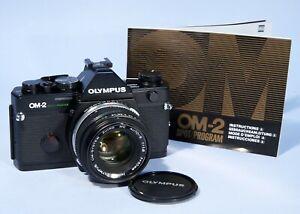 Olympus OM2 Spot Program SLR 35mm Film Camera 50mm f1.8 Lens * NEW SEALS Working