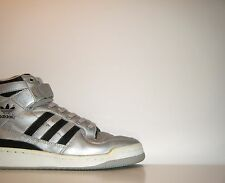 OG Vtg 1980s Adidas Forum High Sz 11 Silver Black Raiders Trainer Rivalry France