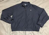 Mens Polo RALPH LAUREN Navy Blue Microfiber Plaid Lined Harrington Jacket Large