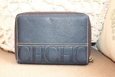 Carolina Herrera Zipped Navy Blue Leather Wallet