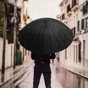 Super Strong Windproof 24 Steel Ribs Stormproof Folding Black Umbrella Men&Women
