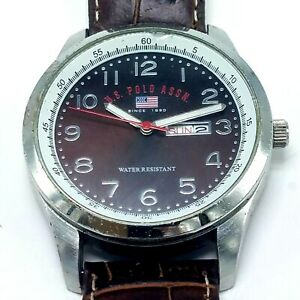 US Polo Assn Mens US5075 Analog Watch New Battery Leather Strap Working Works