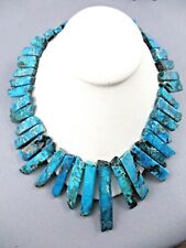Huge LUCAS LAMETH Turquoise Chunky Statement Necklace LUC Sterling 925