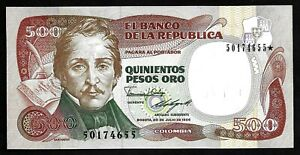 COLOMBIA - PICK 423c - 500 PESOS - 1986 - CH UNC - SANTANDER - REPLACEMENT