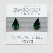 Green Tear Drop Stud Earrings 10mm Small Crystal  Made with Swarovski Elements
