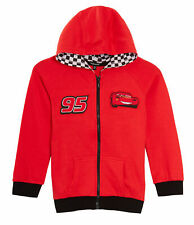 Disney Cars Boys Hooded Jacket Lightning McQueen Kids Zip Hoodie Jumper Size