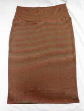 Womens LuLaRoe Cassie Skirt S Greenish Brown Pink Stripes NWT