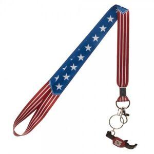 Americana USA Flag Lanyard With Sticker ID Badge Holder &  Bottle Opener Charm
