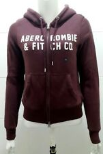 New Abercrombie & Fitch Bordeaux Graphic Full Zip Sherpa doublé à capuche-XS