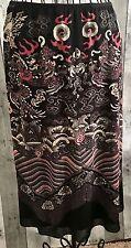 Vivienne Tam Skirt Asian Dragon Floral Art Print Black Pink Nylon Size 1