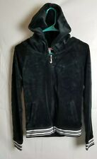 JUICY COUTURE Black Velour Zip Up Hoodie Hooded Sweatshirt.  sz Small S