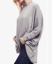FREE PEOPLE WE THE FREE GRAY DOLMAN SLEEVE OVERSIZED TURTLENECK TERRY TOP Sz L