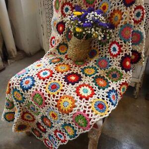 Crochet granny blanket handmade daisy flower multi color