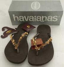 HAVAIANAS SLIM LEAVES FLIP FLOPS - DARK BROWN/BRONZE - SPECIAL EDITION