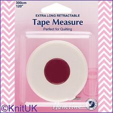 "Hemline Extra Long Retractable Tape Measure. 300cm / 120"" - Fibreglass"