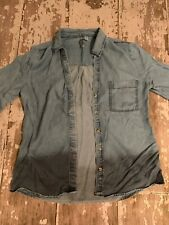 Alya Top Button Down Shirt Denim Ombre Size Small Jean