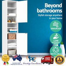 185 cm Bathroom Tallboy Toilet Storage Cabinet Laundry Cupboard Adjustable Shelf